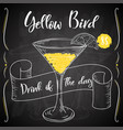 dring poster cocktail yellow bird for vector image vector image