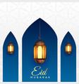 eid mubarak background with hanging lanterns vector image vector image