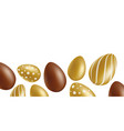 ester banner or border with chocolate and gold egs vector image vector image