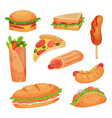 fast food set on a white vector image