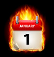 first january in calendar burning icon on black vector image vector image