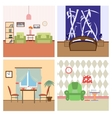 Flat house Interiors colorfull lineart vector image