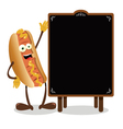 Funny Hot dog and a blackboard vector image vector image