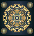 golden mandala pattern in dark blue background vector image