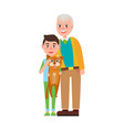 grandpa with grandson holding fluffy cat in hands vector image vector image