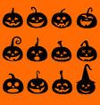 halloween pumpkin icons postcard vector image vector image