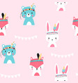 hand drawing animals pattern seamless vector image