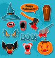 happy halloween set of cartoon holiday sticker vector image vector image
