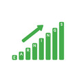 icon concept of earnings sales bar graph moving up vector image