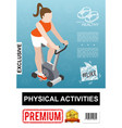 isometric fitness colorful poster vector image vector image