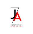ja logo letter separated a black zigzag line vector image vector image