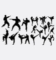 karate and boxing sport silhouette vector image vector image