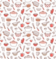 Kitchenware and cooking utensils doodle red