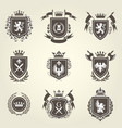 knight coat of arms and heraldic shield blazons vector image vector image