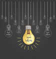 lightbulb or idea engraved hand drawn in old vector image vector image