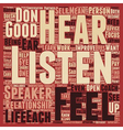 Listen And Hear text background wordcloud concept vector image vector image