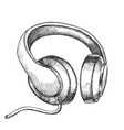 listening audio device cable headphones vector image vector image