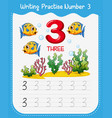 number three tracing worksheets vector image