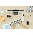 office desk interior vector image