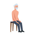 old man seated in wooden chair vector image vector image