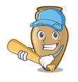 playing baseball amphora character cartoon style vector image vector image