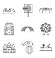 pleasure park icons set outline style vector image vector image
