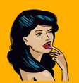portrait beautiful young woman pin-up concept vector image