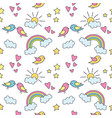 Seamless pattern with colorful rainbows stars