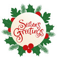 seasons greetings text with decoration vector image