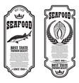 set seafood flyers fish design element vector image