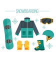 Snowboard equipment- jacket boots helmet vector image