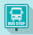 square bus stop sign icon flat style vector image