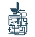 toilet bowl and water pipe system vector image vector image