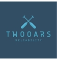 two oars sign monogram logo in minimalism flat vector image vector image