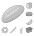 types of bread monochrome icons in set collection vector image