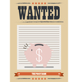 Wanted piggy bank poster vector image