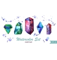 Watercolor set of crystals and spots Isoleted vector image
