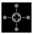 white halftone medical center icon vector image vector image