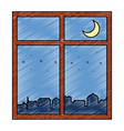 windows with night scene vector image