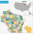 Wisconsin map vector image vector image