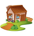 wooden house on the hill vector image vector image