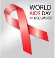 World Aids Day background with red ribbon of aids vector image vector image