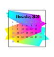 2020 calendar design abstract concept november vector image vector image