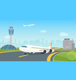 airplane taking off from airport runway passenger vector image