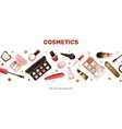 banner with different cosmetics in cartoon style vector image vector image