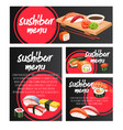 banners japanese sushi roll vector image vector image