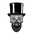 bearded mexican sugar skull in vintage hat day of vector image vector image