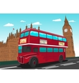 Big Ben with red double-decker bus in London UK vector image vector image