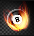 billiard ball in fire realistic burning vector image