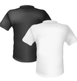 Black and white t-shirt back view on white vector | Price: 1 Credit (USD $1)